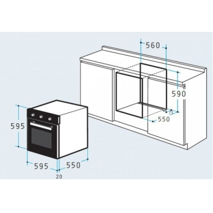 Cuptor incorporabil electric Pyramis 60IN 1011, inox, ghidaje telescopice, 10 functii