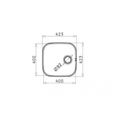 Chiuveta de bucatarie incorporabila sub blat Pyramis IRIS 1B, 40 cm, inox lucios