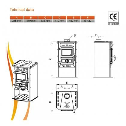 Soba pentru incalzit pe lemne Tim Sistem Semineul fermecat, rosie, 10 kW