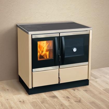 Soba pentru incalzit si gatit pe lemne MBS THERMO ROCKY, Crem, 25 kW, boiler 22 l