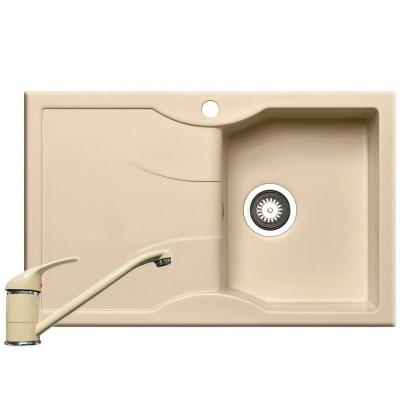 Chiuveta de bucatarie Pyramis Aeolia 1B 1D DR, 80 cm, compozit, beige + baterie bucatarie cadou
