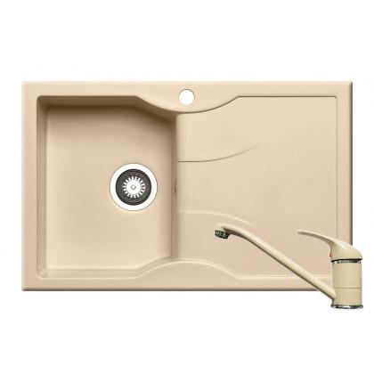 Chiuveta de bucatarie Pyramis Aeolia 1B 1D ST, 80 cm, compozit, beige + baterie bucatarie cadou
