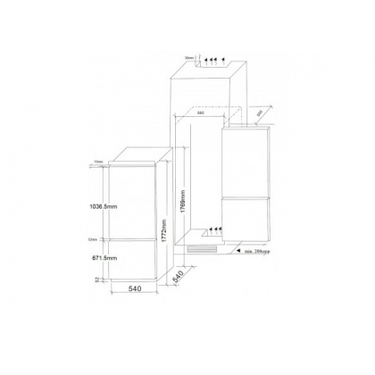 Combina frigorifica incorporabila Pyramis COBI34N, ventilat, clasa A+