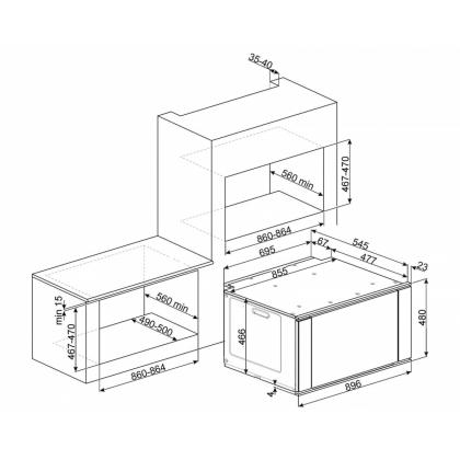 Cuptor incorporabil electric Smeg Classica SF9315XR, 90 cm, 10 functii, Vapor Clean